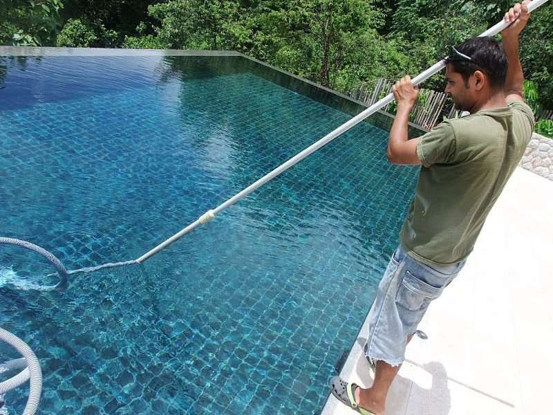 Filter cleaning algae removal samui property services Swimming pool algae treatment